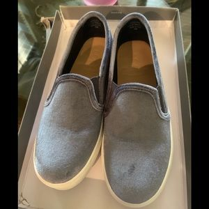 Velvet slip on sneakers